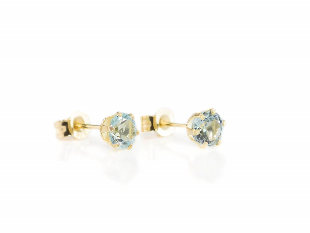 Little Aquamarine Sparkle | Gold faceted earstuds (sold)