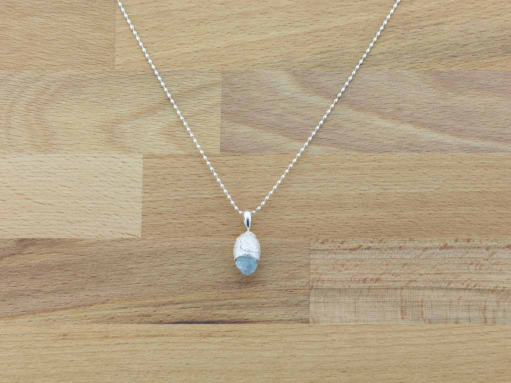 AQUAMARINE ACORN | Sterling Silver necklace (made to order)