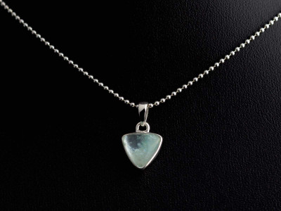 Ocean Blue Aquamarine Triangle necklace | polished Sterling Silver (sold out)