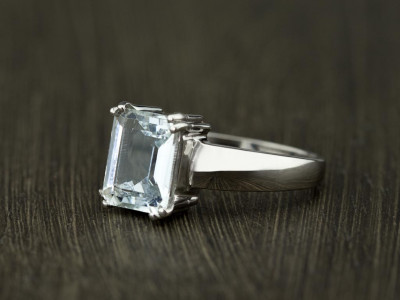 WATER BLUE AQUAMARINE   Rhodium plated Sterling Silver ring (made to order)