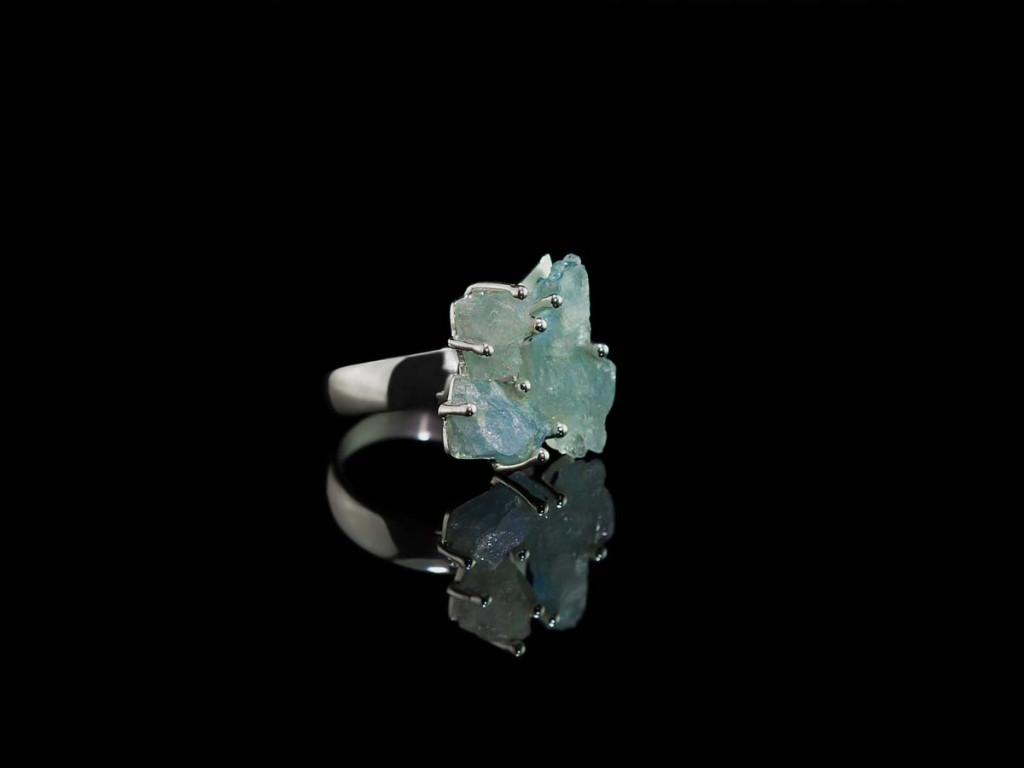Blue Lagoon Ring | Three raw Aquamarines on Sterling Silver Ring (sold out)