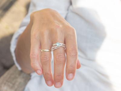 AQUAMARINE TWIG |18K solid White Gold ring