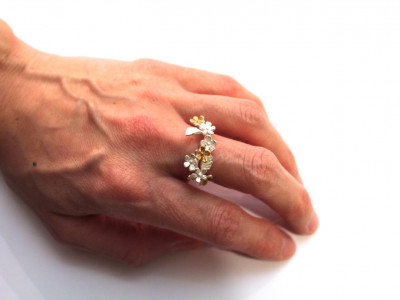Bouquet of flowers Silver and Gold Ring (made to order)