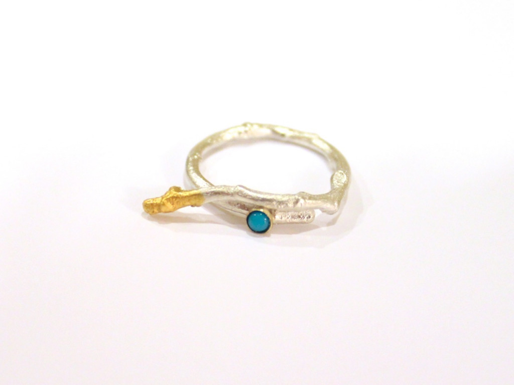 Blue Twig Sterling Silver Ring with Turquoise and Gold applications (made to order)
