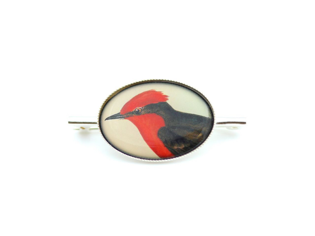 Red Cardinal | Sterling Silver Brooch with a classic Victorian painting of a Cardinal bird (sold)