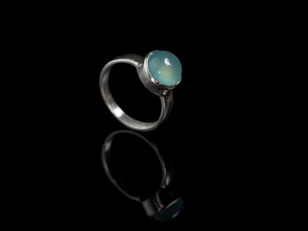 Ocean Blue | Chalcedony Dome brushed handcrafted Sterling Silver Ring (sold out)