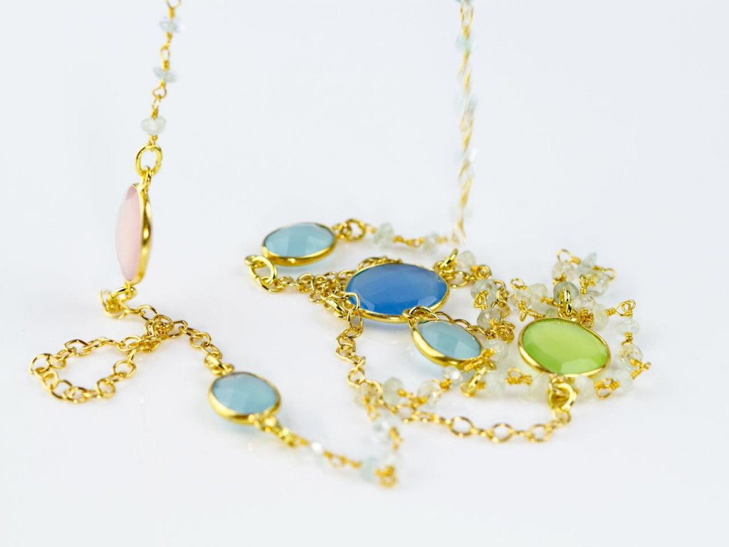 Gold multicoloured Chalcedony long gold vermeil Aquamarine necklace (sold out)
