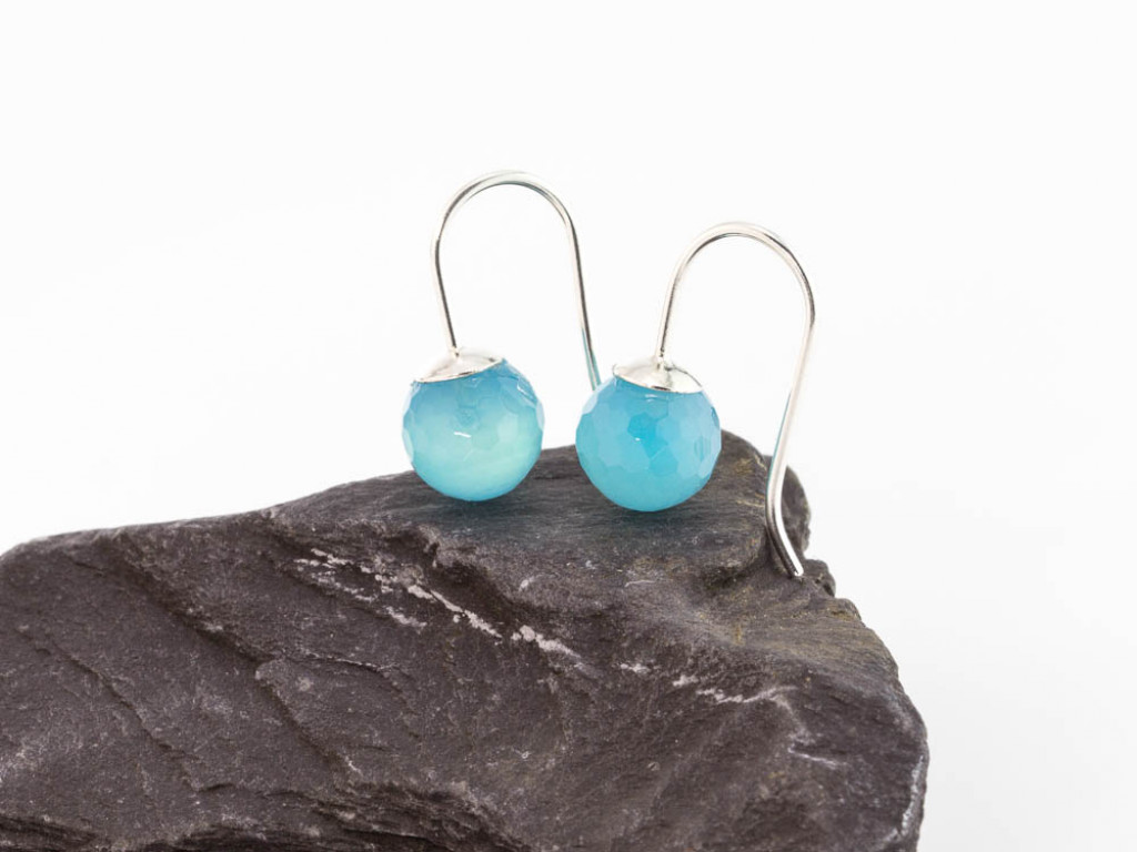 CANDY | Earrings with Sea Blue Chalcedony and Sterling Silver (sold)