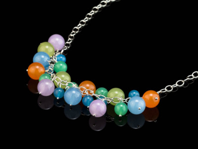 CANDY | necklace Sterling Silver with genuine Chalcedony spheres (sold out)