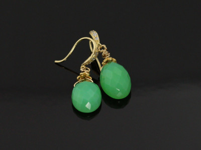 Chrysoprase Golden earrings (sold out)