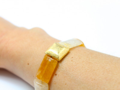 Citrine Bracelet - with puffy golden squares (Sold Out)