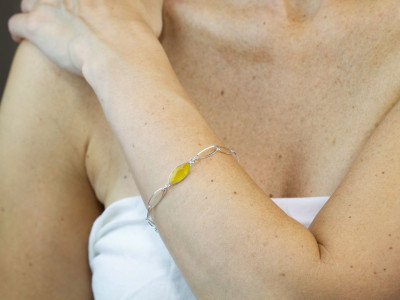 Citrine Loops | Sterling Silver Bracelet with an oval faceted Citrine (sold out)