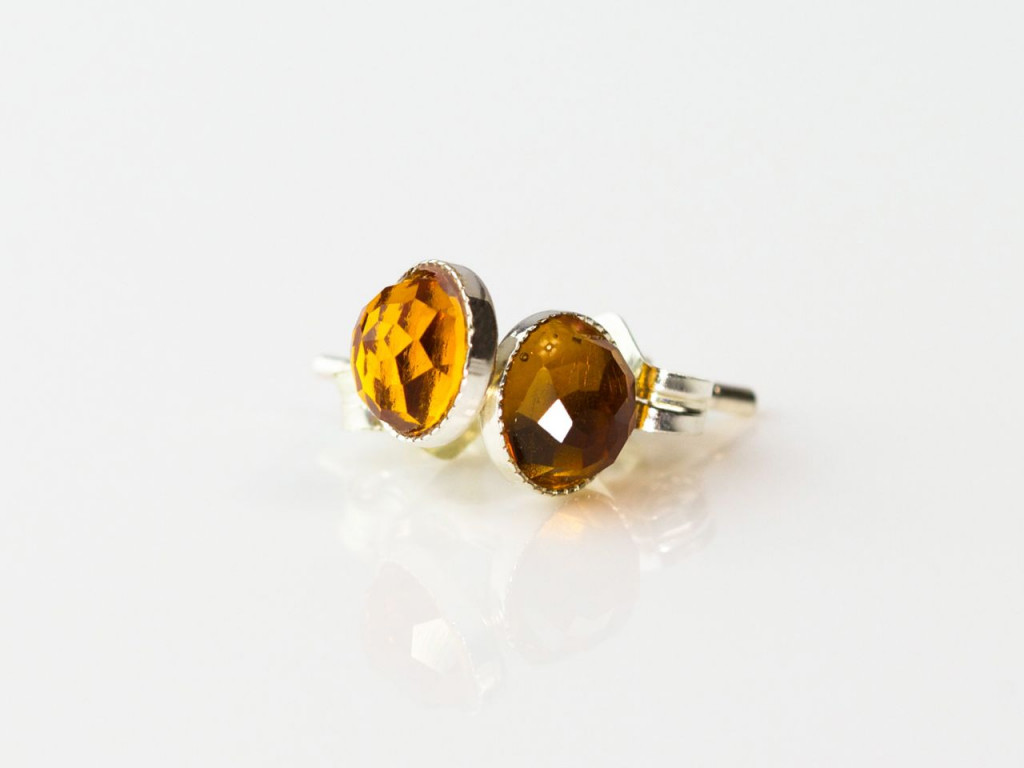 Orangey Yellowy | Sterling Silver ear studs with facetted Citrine (sold out)
