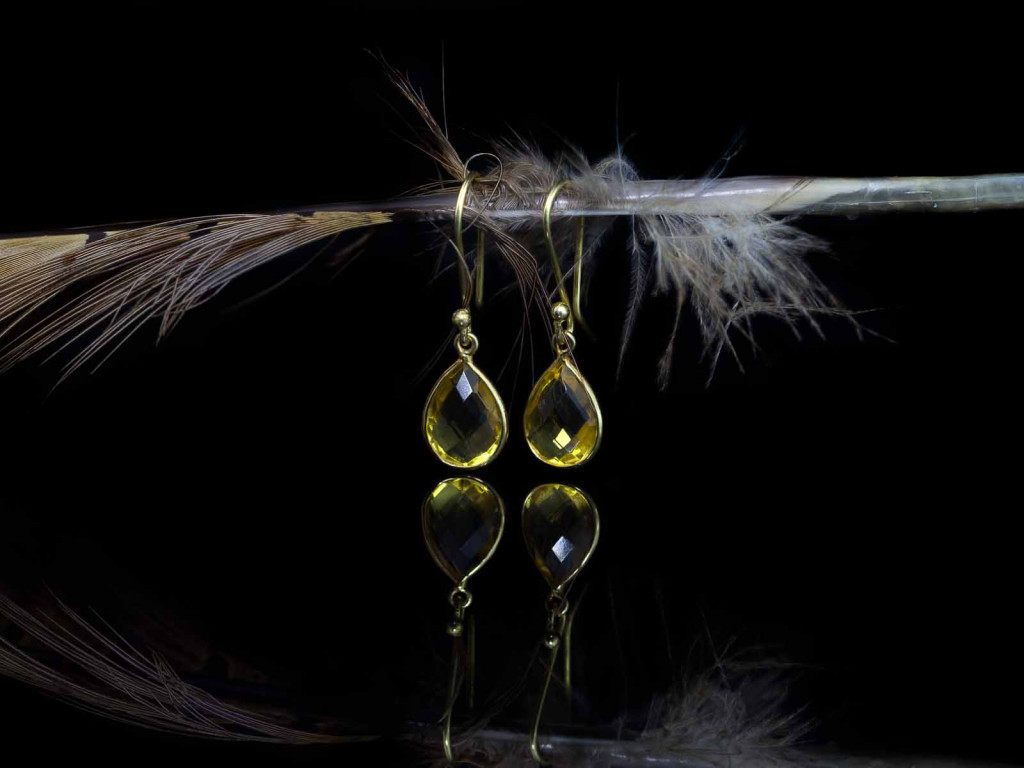 Dangly Citrine earrings | Drop shaped in Gold vermeil (sold out)
