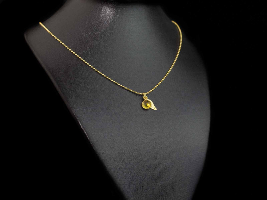 Citrine Gold vermeil necklace with round faceted pendant and a leaf (sold out)