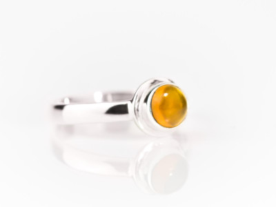 Round Shiny Madeira Citrine on Sterling Silver ring