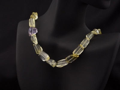 CITRINE FREEFORM CHUNKS | Necklace with Amethyst and Gold vermeil
