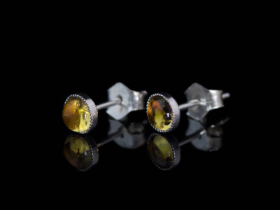 Little Yellow dots | Citrine ear studs in Sterling Silver (Sold out)