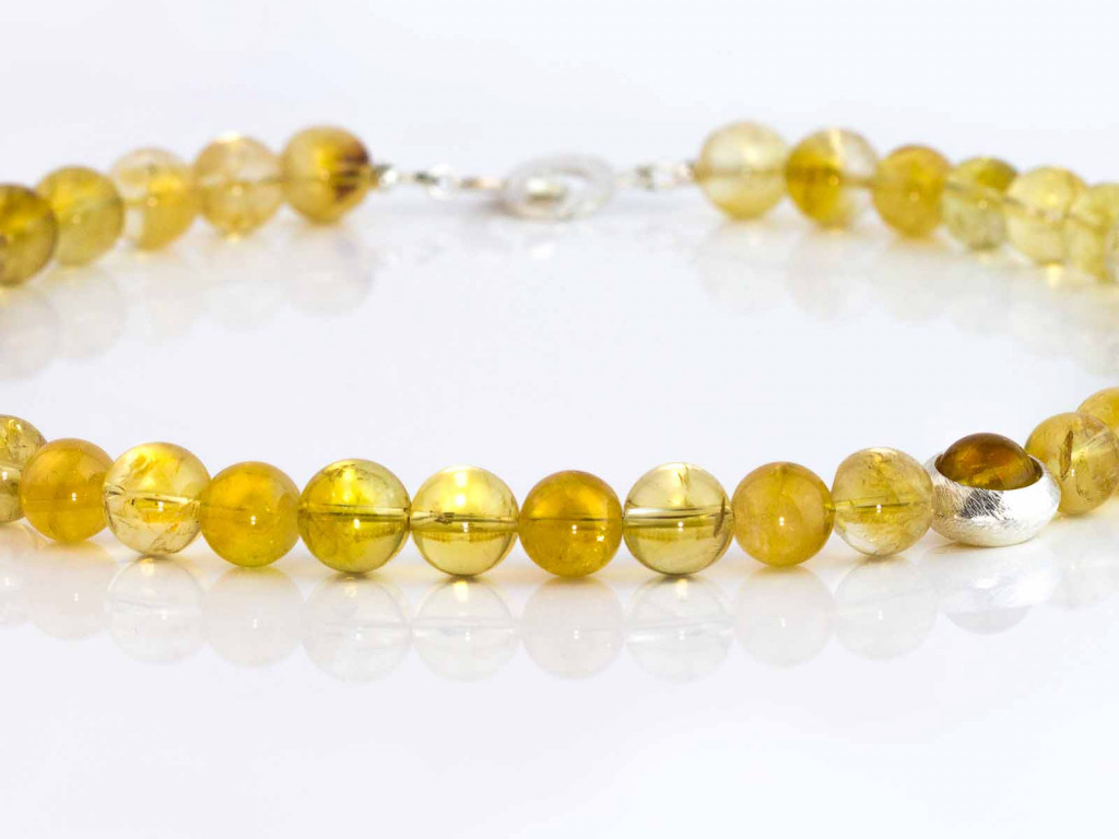 Golden Yellow Citrine Spheres Necklace with Sterling Silver Rings (sold out)