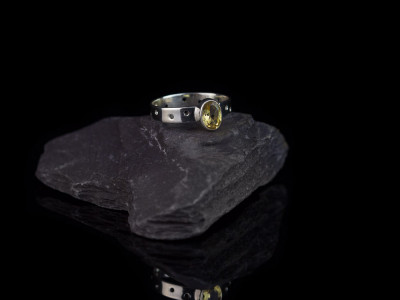 SEE THROUGH CITRINE | Sterling Silver ring with dots