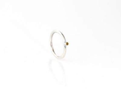 YELLOW DOT | Elegant CITRINE polished Sterling Silver Ring