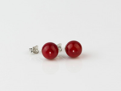 Coral Vermelho | Deep Red Precious Coral sphere ear studs set in Sterling Silver (sold out)