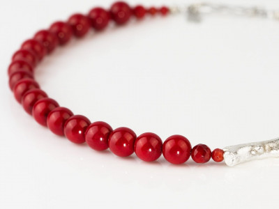 Coral Vermelho | Deep Red Precious Coral necklace with cast Silver branch (sold out)