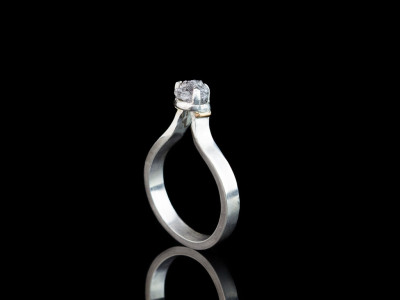 POINTED DIAMOND   Sterling Silver ring with 9ct Gold details (made to order)