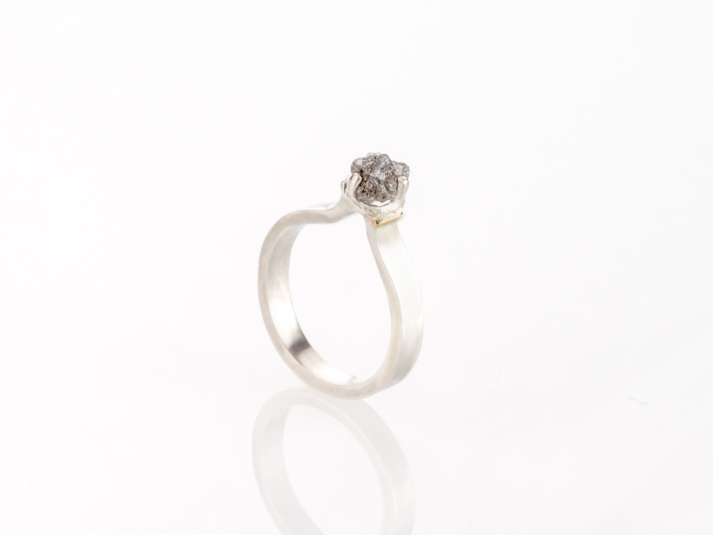 POINTED DIAMOND | Sterling Silver ring with 9ct Gold details (made to order)