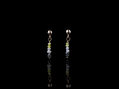 Gold Earrings with Diamonds in three colours | yellow white and black (sold)