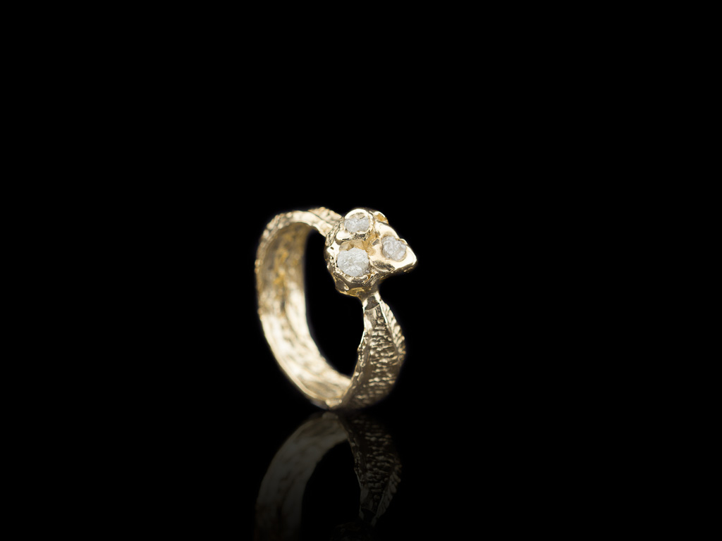 DIAMOND BARNACLE | Solid Gold ring with three Rough Diamonds