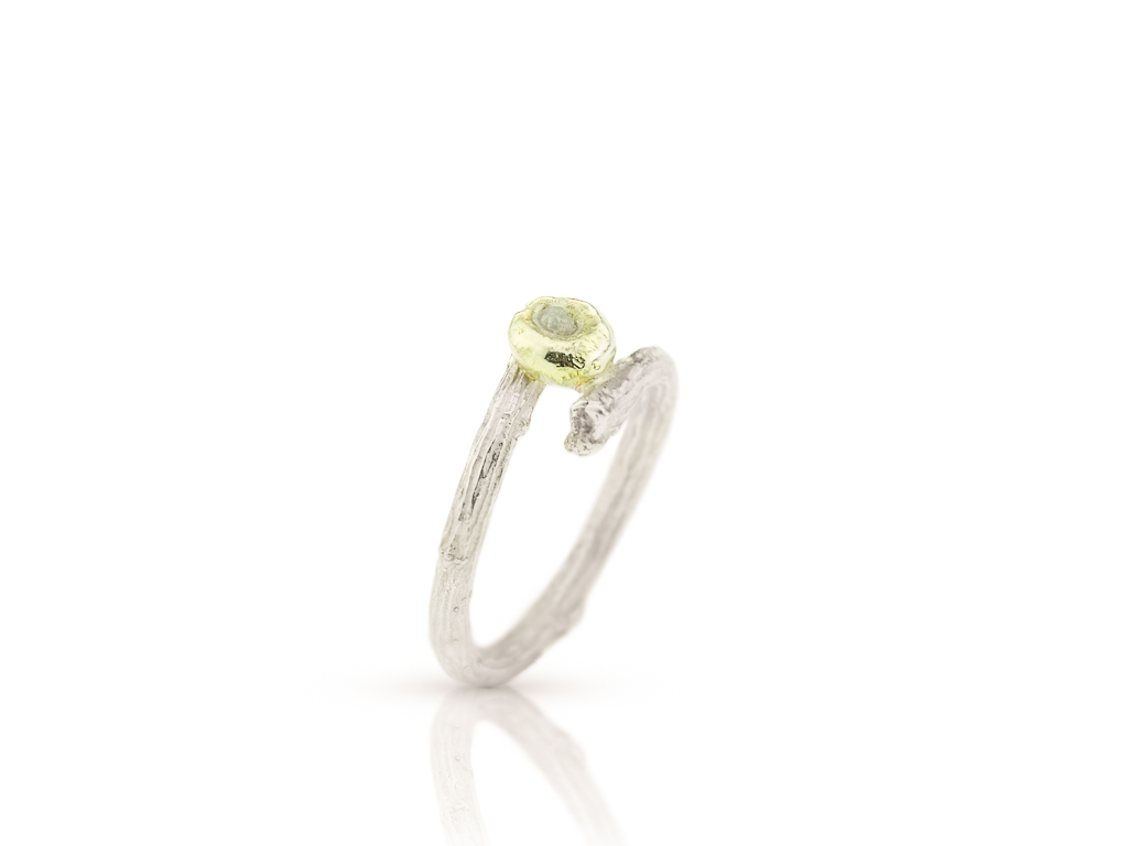 DIAMOND IN GOLD BED | Twig ring in Sterling Silver (sold)