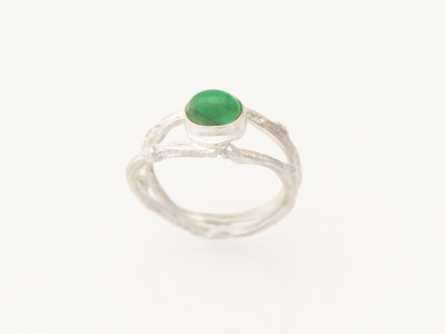 NATURALLY GREEN | Emerald ring on Sterling Silver twig (sold)