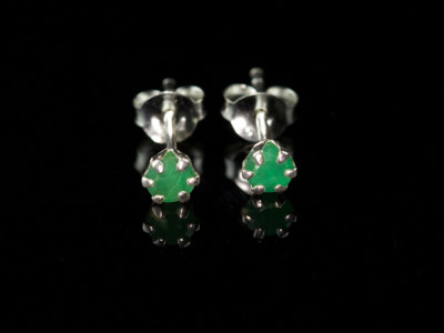 Emerald Crown Sterling Silver Ear Studs (sold out)
