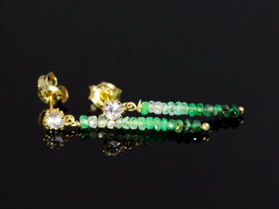 Niagara Falls Gold earrings with shaded Columbian Emeralds and a faceted Zirconia(Sold Out)