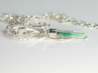Colombian shaded Emerald in keepsake Sterling Silver necklace (Sold out)