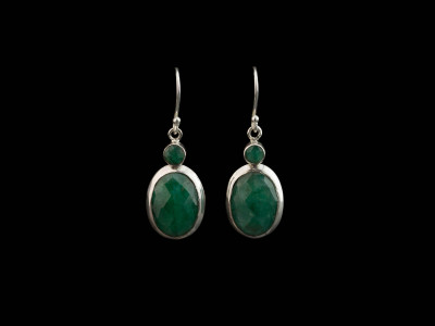 DOUBLE EMERALD | Dangly Sterling Silver earrings (sold out)