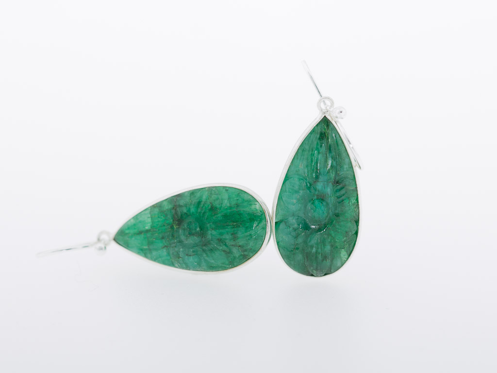 CARVED EMERALD TEARS | Earrings set in Sterling Silver (sold)