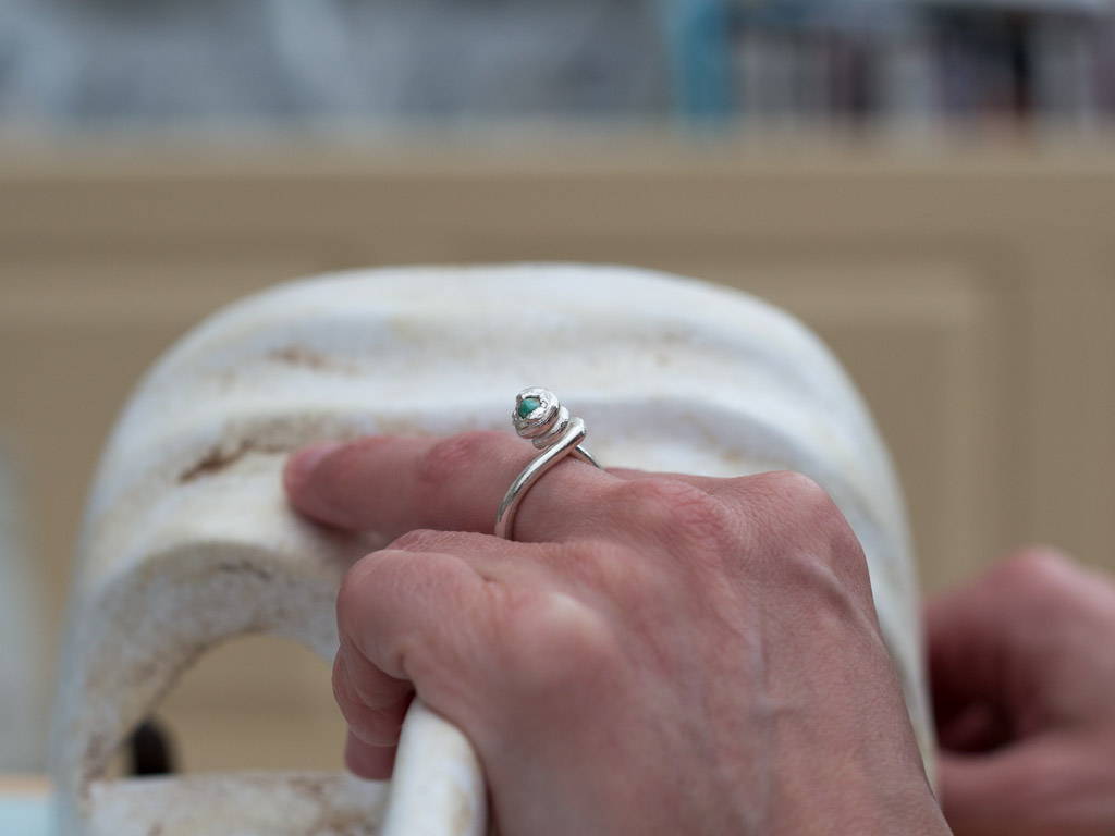 EMERALD SWIRL | Sterling Silver ring with a twist (sold out)