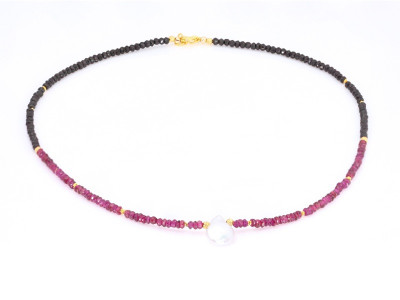 Rhodolite Garnet-Spinell Necklace with Pearl and Gold (sold out)