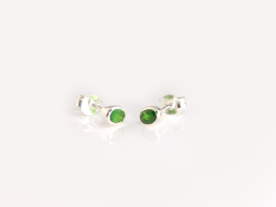 TSAVORITE GARNET | Sterling Silver ear studs with green Garnet (sold)