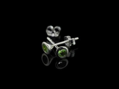 TSAVORITE CONES | Sterling Silver ear studs with green Garnet (sold)