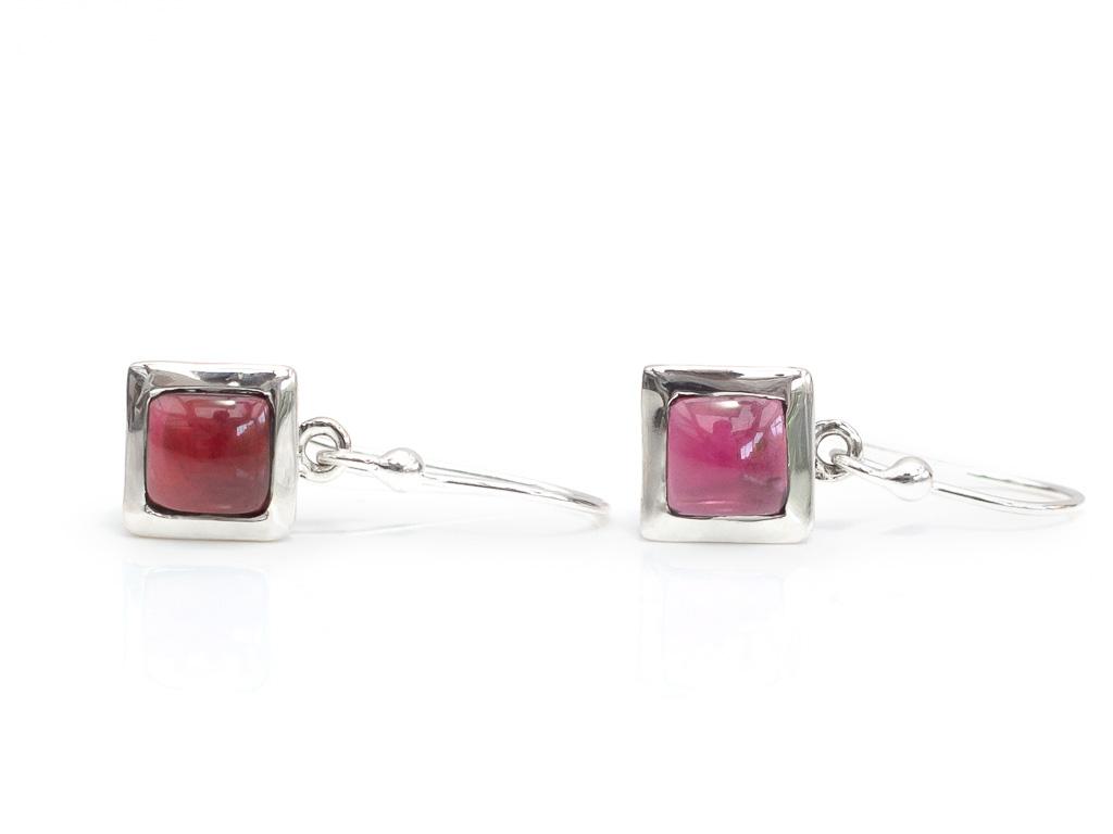 DARK GARNET SQUARES | Sterling Silver earrings (Sold Out)