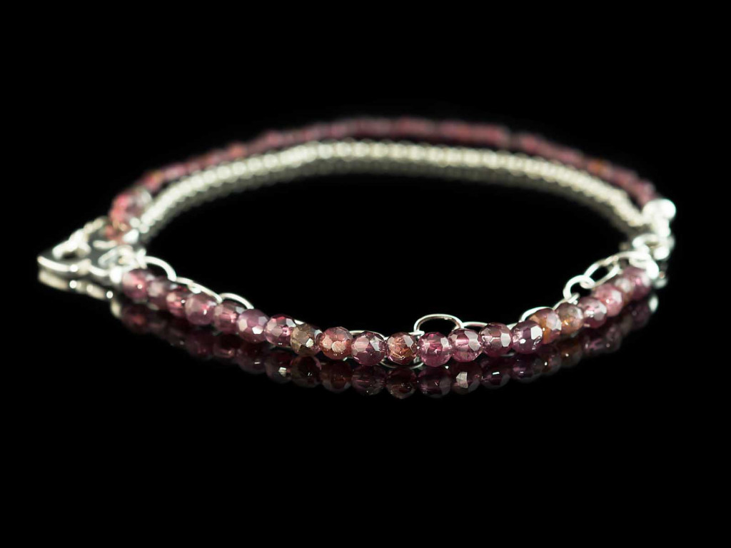 Garnet in 2 chains bracelet   with geometrical Sterling Silver applications (Sold Out)