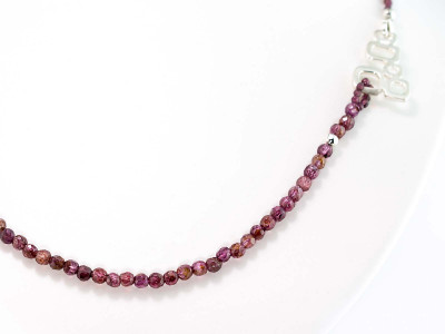 FACETS OF GARNET | Necklace with geometrical Sterling Silver applications (made to order)