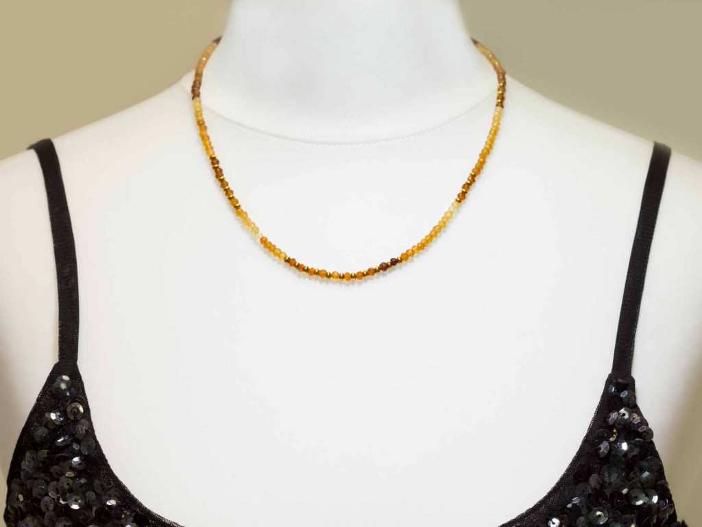 Cinnamon Garnet necklace | shaded Hessonite with Gold Applications
