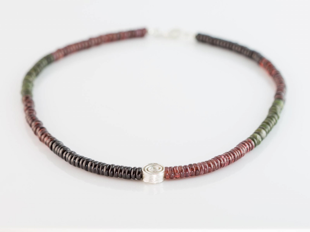 Three colour Garnet necklace | Sterling Silver Swirl ornament (Sold Out)