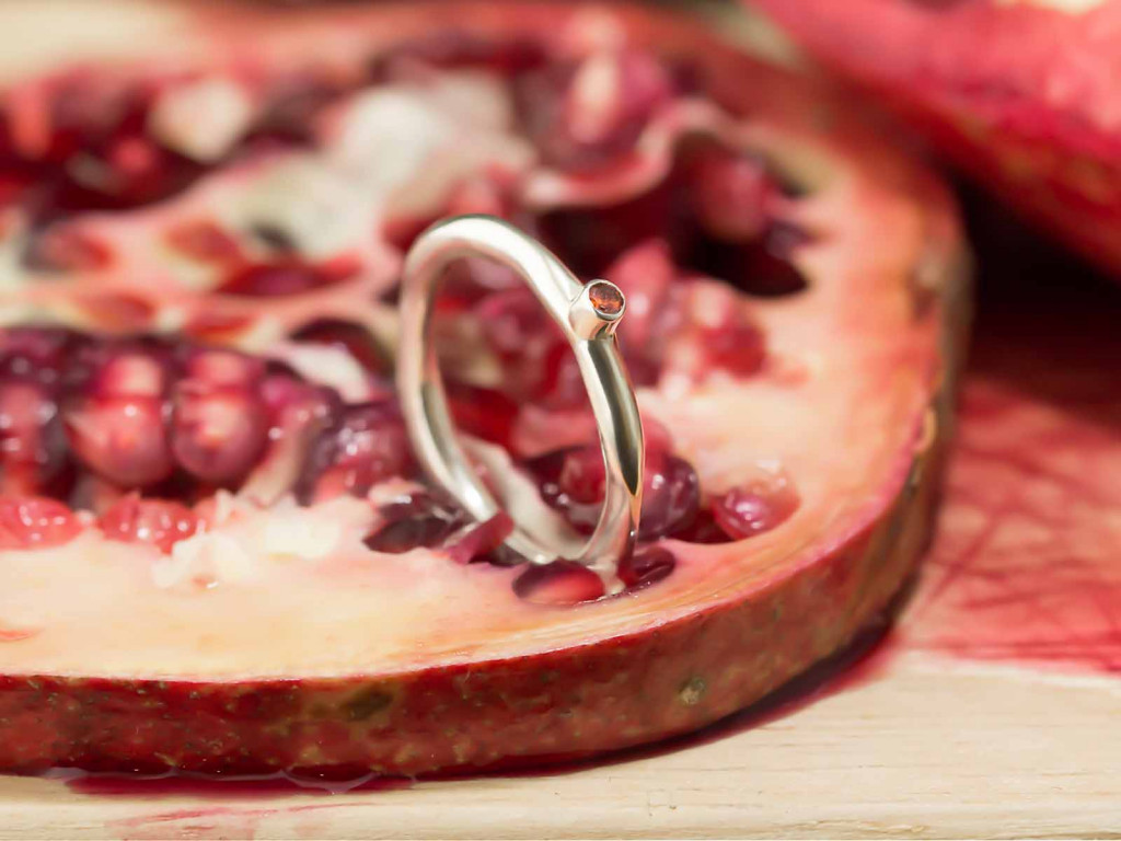 RED DOT | Garnet Ring from hand wrought Sterling Silver (sold)
