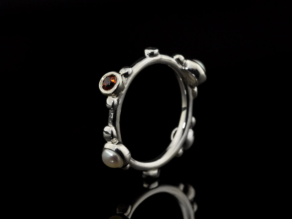 GARNET & PEARL | Sterling Silver ring with 4 stones (made to order)