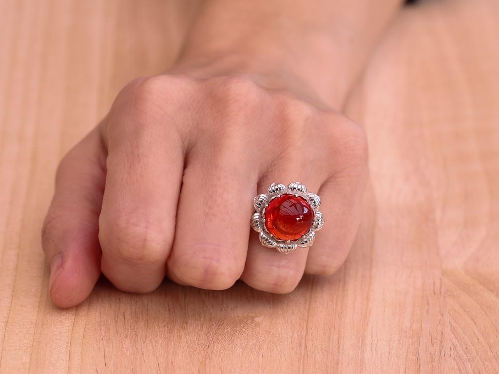 HOT ORANGE | Spessartine Garnet ring in Sterling Silver (sold)